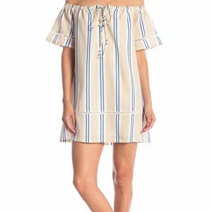 J.O.A. Striped Off The Shoulder Dress